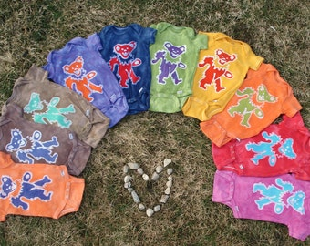 Grateful Dead Baby Batik Onesie Dancing Jerry Bear CUSTOM PLEASE READ listing for sizing
