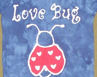 Lady Bug Love Bug Baby Batik Onesie for Valentines Day CUSTOM MADE
