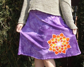 Lotus Yoga Skirt Mandala Yogini Batik Pixy Skirt in Cosmic Purple CUSTOM