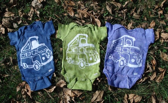 Baby Batik Volkswagen Van Pop up Camper Bus Onesies
