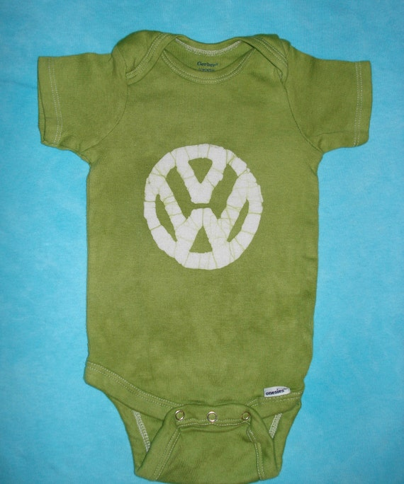Volkswagen VW Hippie Baby Batik Onesie in Avocado Green CUSTOM MADE