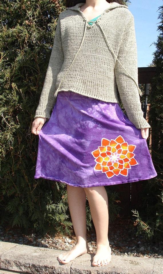 Lotus Yoga Skirt Mandala Yogini Batik Pixy Skirt in Cosmic Purple CUSTOM