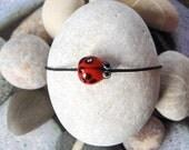Lucky Ladybug - bracelet with a tiny glass ladybug on cotton cord