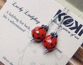 Lucky Ladybug - silverplated earrings with handmade glassbead