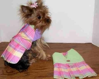 XS Pastel Plaid Harness Dress
