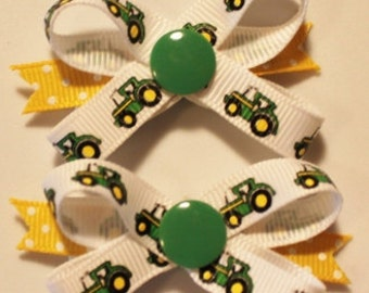John Deere Tractor Snap N Go Dog Hair Bows - Set of 2 or Custom Single Bow
