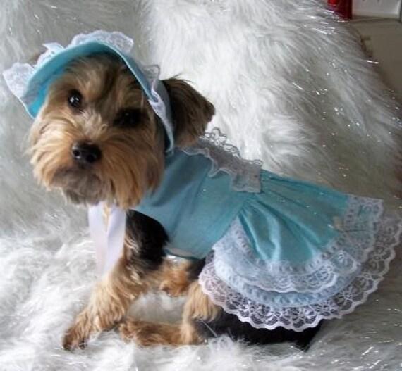 Easter Or Party Dress W Bonnet Dog Pet Clothes Sz Sm By