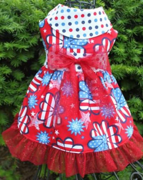 Patriotic Dog Clothes: 4th Of July Dog Dress & Hair Bows