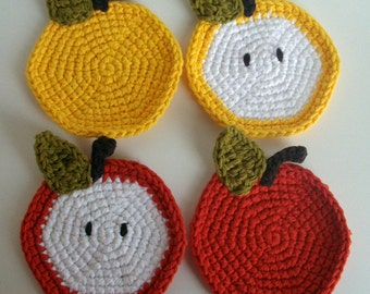 Crochet Apple Coaster Pattern