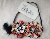 Bella Donna headband - gray, red children, teen, adult floral fun - stretchy band