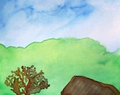 HOUSE NEXT TO A TREE Watercolor Drybrush Print