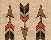 Chevron Arrows  -Digital Image Sheet -SooArt Original Illustrate Drawing  A4 Print on Pillows, t-shirts, scrapbook, lampshades  ETC.