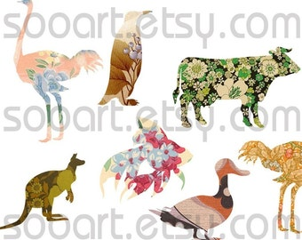 Digital Collage Sheet Little ZOO animal Die Cut on Vintage Wallpaper  A4 Mixed Media Good for Scrapbook, Art, ACEO, ATC, Pendant etc.