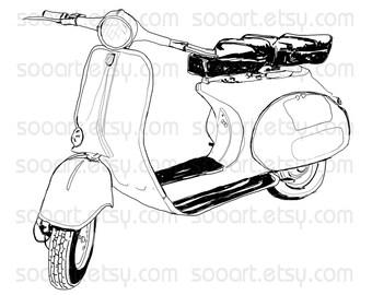 Retro Vespa -Digital Image Sheet -SooArt Original Illustrate Drawing  A4 Can Print on Pillows, t-shirts, scrapbook, lampshades  ETC.v