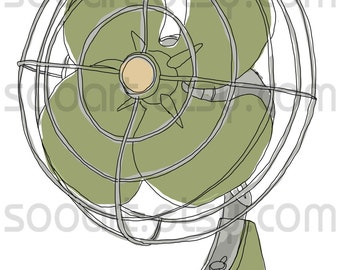 green fan vintage -Digital Image Sheet -Original Illustrate Drawing  A4 Print transfer on Pillows, t-shirts, scrapbook, lampshades  ETC.v