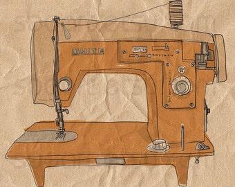 brown sewing vintage-Digital Image Sheet -SooArt Original Illustrate Drawing  A4 Print on Pillows, t-shirts, scrapbook, lampshades  ETC.
