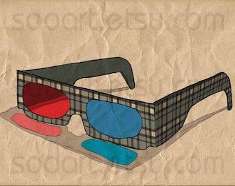glasses 3d vintage-Digital Image Sheet -Original Illustrate Drawing  A4 Print transfer on Pillows, t-shirts, scrapbook, lampshades  ETC.v