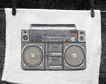 boombox stereo old school  -SooArt Original Illustrate Drawing  A4 Print on Pillows, t-shirts, scrapbook, lampshades  ETC.v