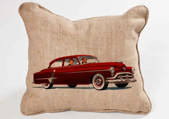 Vintage Red Car -Digital Image Sheet -SooArt Size A4 Print on Pillows, t-shirts, scrapbook, lampshades  ETC.v