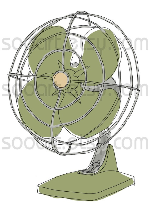 green fan vintage -Digital Image Sheet -Original Illustrate Drawing  A4 Print transfer on Pillows, t-shirts, scrapbook, lampshades  ETC.v