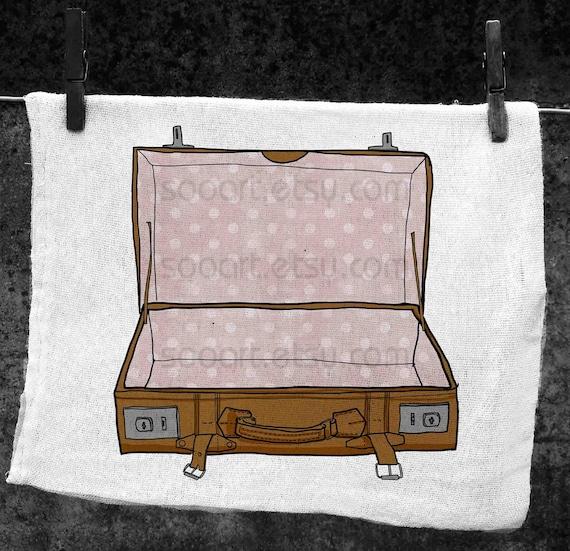 Suitcase vintage -Digital Image Sheet -Original Illustrate Drawing  A4 Print transfer on Pillows, t-shirts, scrapbook, lampshades  ETC.v