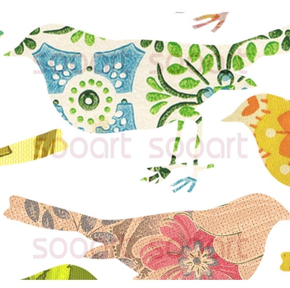 BUY 2 GET 1 FREE Digital Collage Sheet BirD Die Cut on Vintage Wallpaper  A4 Mixed Media Good for Scrapbook, Art, ACEO, ATC, Pendant etc.