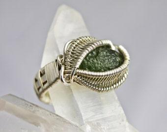 Moldavite Ring - Wire Wrapped Talisman Amulet - Unique Original Design by Philip Crow