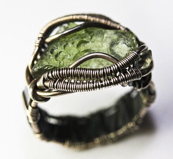 Original Philip Crow Sterling Silver Talisman Ring - Moldavite with Herkimer Diamond