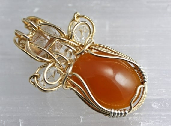 Original Philip Crow Sterling Silver and 14K Gold Pendant - Simbircite with Herkimer Diamonds and Rutilated Quartz