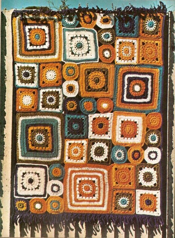 Patchwork mural blanket vintage crochet pattern 442 - Crochet mural vintage ...