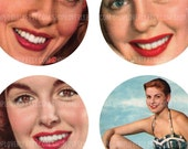 2 Inch Round Images of 50s era Women - Digital Collage Sheet No. 402