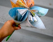 Recycled Atlas Map Paper Flower (1 Extra Large)
