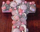 Wall Cross Jewelry Embellished  Stone Pink Silver - OOAK Cross