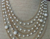 """Bib Vintage Multiple Chain Bead- Necklace  """"Abby"""""""