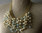Bib Necklace Blue Cream and Gold Chain - One of a Kind Statement Necklace SALE