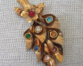 Vintage Multi Stone Brooch Holiday Fashion Accessory Statement Pin Free Gift Bag