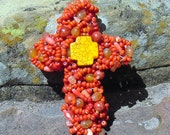 Cross Beaded Unique Holiday Ornament Decoration OOAK Home and Living Accessory