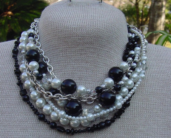 BLACK TIE - Fresh Water Pearls, Onyx, Crystal -  Multi Strand - TANGLE Necklace
