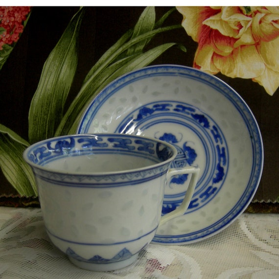 Vintage Blue and White Rice China Cup and Saucer - Hold to Light To See Pattern