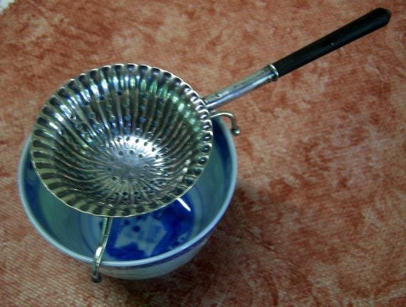 Vintage Antique Silver Tea Strainer with Wooden Handle -