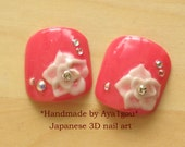 3D nails, pink nail, toe nails, big toes, flower nail, floral, handmade nail, pedicure, kawaii nails, rose, bridal, wedding, Japanese nail