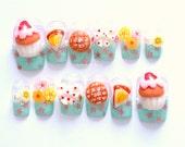 Pastel nail, kawaii nail, 3D nail, fake nail, press on nail, fairy kei nail, sweet lolita, melonpan, Japanese, food nail, cake, bow, star,