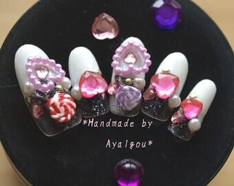 Hime gyaru, gyaru nail, 3D nail, kawaii nail, false nail, bling, nail swag, french nail, candy nail, gel nail, Japanese nail art, acrylic