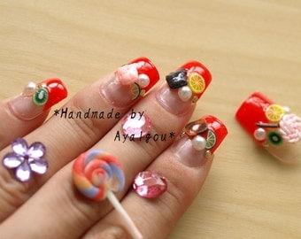 Candy nails, kawaii nails, Harajuku, food nail, chocolate, nail cabochon, red nail, Japanese nail art, nails set, nails