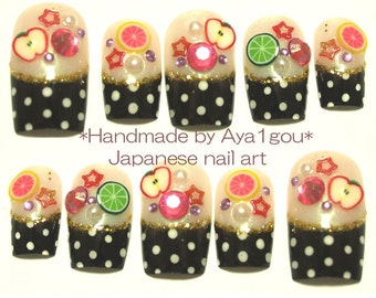 3D nails, polka dots, harajuku, colorful fruits, Japanese nail art