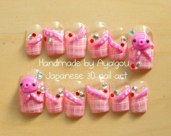 Japanese 3D nails, polymer clay, handmade, pink, octopus, tentacles, on pink plaid nails