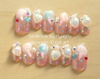 Nail art, Japanese 3D nails, fairy kei, Harajuku, pastel nails, kawaii, deco nail, sweet lolita, lolita accessory, yume kawaii, cotton candy