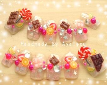 Decoden, 3D nails, kawaii nails, food nail, fake sweet, pop kei, kyary, Harajuku nail, glitter nail, nail tip, fake nails, Japanese nail art