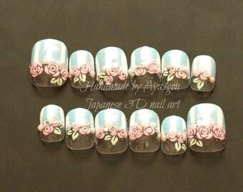 Fairy kei nail, 3D nail, Japanese nail, kawaii nail, sweet lolita, lolita accessory, Harajuku, short nails, nail set, blue nail, ongles
