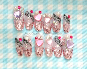 Gyaru nail, 3D nail, glittery, long nail, pink nail, kawaii nail, deco nail, lace nail art, heart, gem, pretty nails, glue on nail,